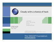 The OWASP Foundation OWASP Cloudy with a chance of hack