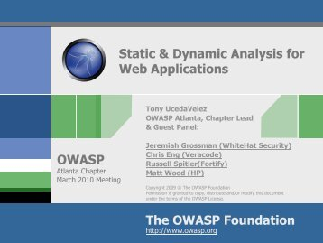 Static & Dynamic Analysis For Web Applications - owasp