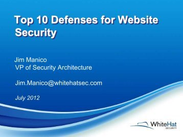 Top 10 Defenses for Website Security - owasp