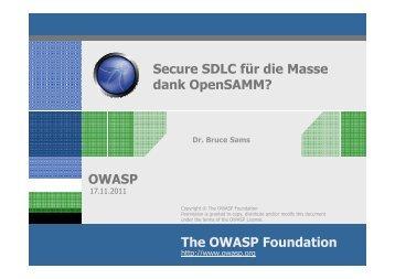 4. German OWASP Day, 17.11.2011, München : Secure SDLC