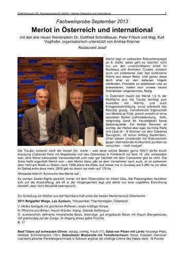 Merlot in Österreich und international