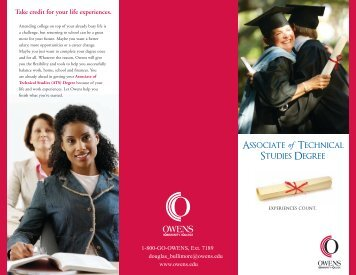 Take credit for your life experiences. - Owens Community College