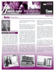 highlights ealth care - Owens Community College