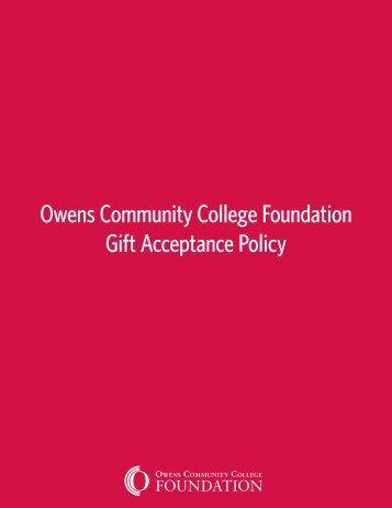 Owens Community College Foundation Gift Acceptance Policy