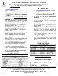 2012-2013 ACT Residual & National Test Schedule - Owens ...