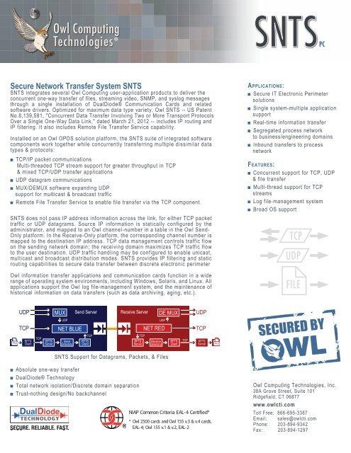 Download SNTS Datasheet - Owl Computing Technologies, Inc