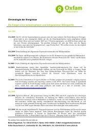 06/2009 Milchpolitik: Chronologie der Ereignisse - Oxfam