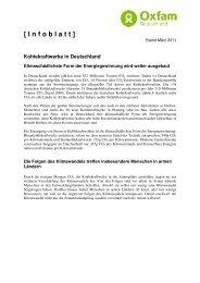 Kohlekraftwerke in Deutschland - Oxfam