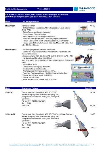 Model LWL Reinigunskoffer Preis/Stk. Meso-Clean ... - Emitec AG