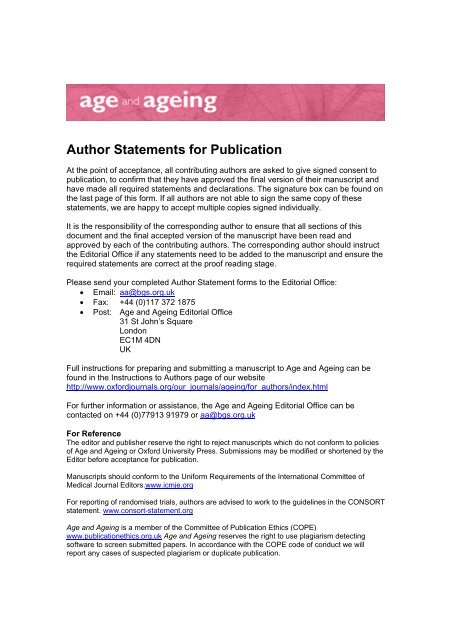 Author Statements for Publication - Oxford Journals