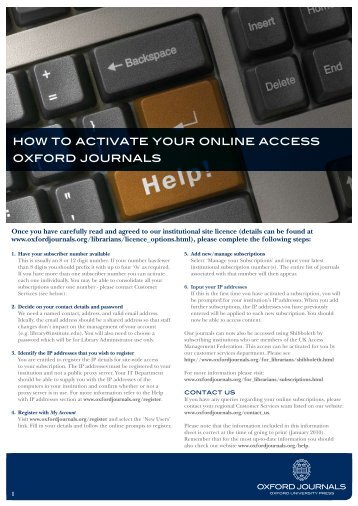 HOw TO ACTIVATE YOuR ONlINE ACCESS OXFORD jOuRNAlS