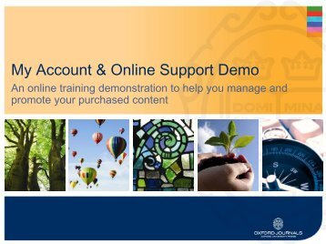 My Account & Online Support Demo - Oxford Journals