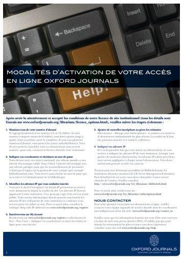 modalités d'activation de votre accès en ligne oxford journals