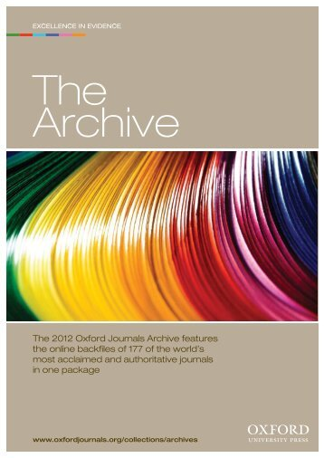 The 2012 Oxford Journals Archive features the online backfiles of ...