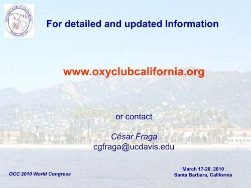Oxidants and Antioxidants in Biology - Oxygen Club of California