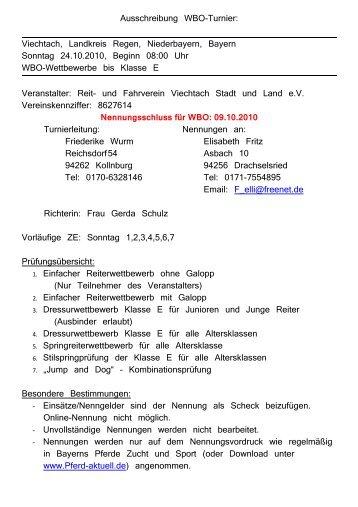 Ausschreibung WBO-Turnier: Viechtach, Landkreis Regen ... - Oyla.de