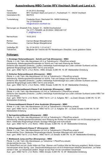 Ausschreibung WBO-Turnier RFV Viechtach Stadt und ... - Oyla.de