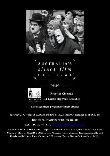 Digital restorations with live music - Australia's Silent Film Festival