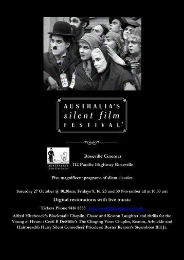 Digital restorations with live music - Australia's Silent Film Festival