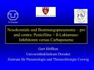 Nosokomiale und Beatmungspneumonie œ pro und contra ...