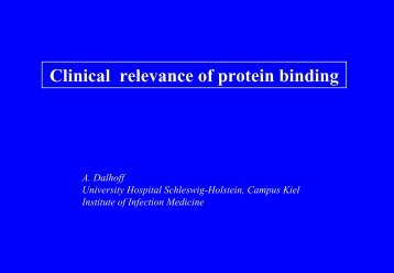 Clinical relevance of protein binding