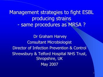 Management strategies to fight ESBL producing strains - same ...