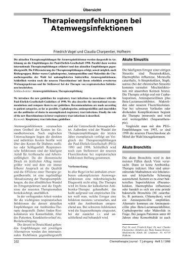 Therapieempfehlungen bei Atemwegsinfektionen - Paul Ehrlich ...