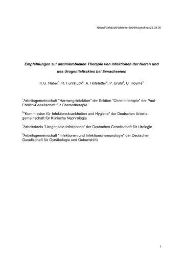 Empfehlungen zur antimikrobiellen Therapie von Infektionen der