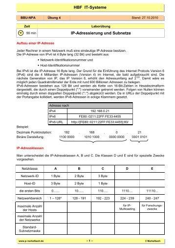 IP-Adressierung und Subnetze - von P. Merkelbach