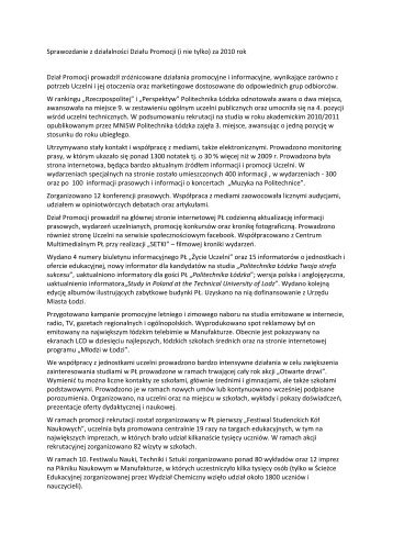 Sprawozdanie z działalności Działu Promocji (i nie tylko) za 2010 ...
