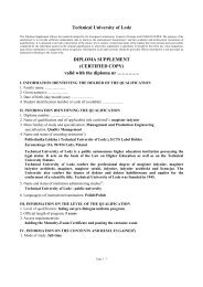 Technical University of Lodz DIPLOMA SUPPLEMENT (CERTIFIED ...