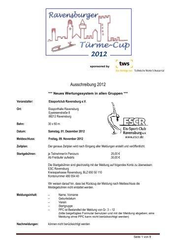 Eissportclub Ravensburg e.V. Ausschreibung 2012 - ESCR