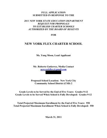 new york flex charter school - p-12 - New York State Education ...