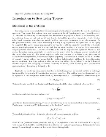 Introduction to Scattering Theory
