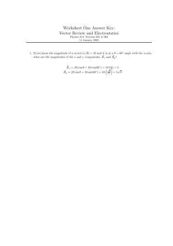 Worksheets Electrostatics Worksheet Answers grand review answer key select answers worksheet one vector and electrostatics