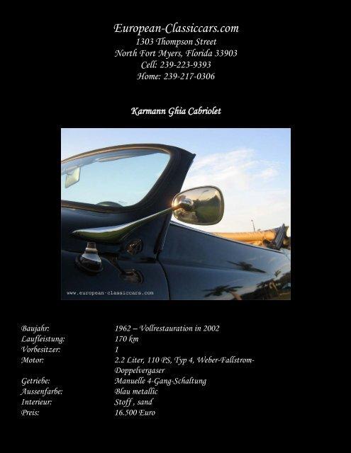 Karmann Ghia Cabriolet, Baujahr 1962 Dieses Cabriolet wurde im ...