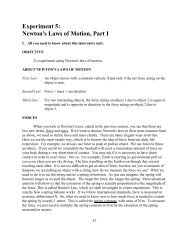 Experiment 5: Newton's Laws of Motion, Part I