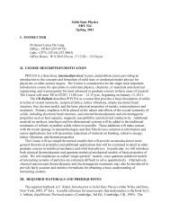 Solid State Physics PHY 524 Spring, 2011 I. INSTRUCTOR ...