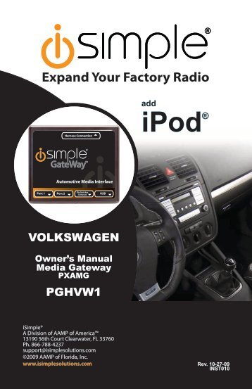 (PGHVW1 Harness) instruction manual - PAC Audio