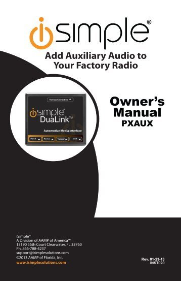 Please click here for the ISGM532 Instruction Manual - PAC Audio
