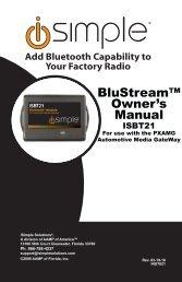BluStream™ Owner's Manual - PAC Audio