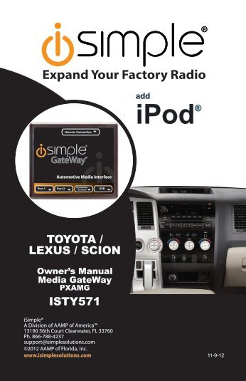 Please click here for the ISTY571 instruction manual - PAC Audio