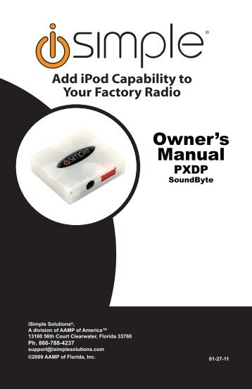 Please click here for the PXDP instruction manual - PAC Audio