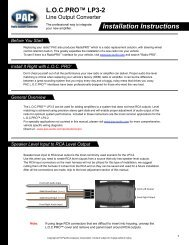 Installation Instructions - PAC Audio