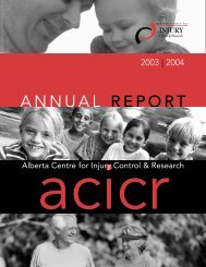 ACICR 2003 -2004 Annual Report - Alberta Centre for Injury Control ...