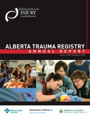 Alberta Trauma Registry Annual Report, 2009 - Alberta Centre for ...