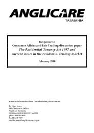 Anglicare RTA Review 2009 - Consumer Affairs and Fair Trading