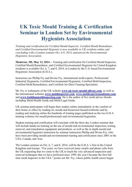 UK Toxic Mould Training Certification Seminar in London Set by