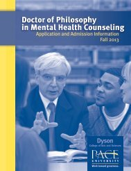 Doctor of Philosophy in Mental Health Counseling - Pace University