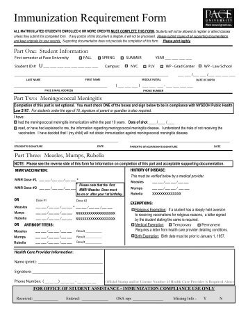 Immunization Requirement Form - Pace University